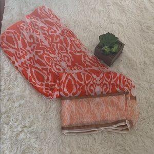 Adorable orange/cheetah print shawl/scarf